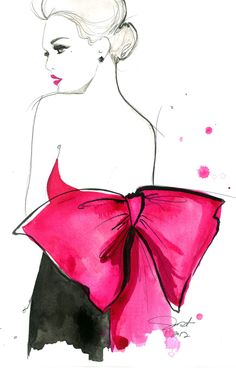 Print from original watercolor and pen fashion illustration by Jessica Durrant titled Pink Bow, via Etsy.
