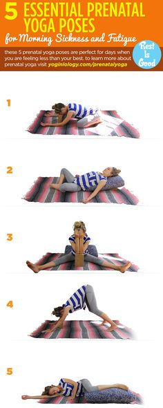 If pregnancy is leaving you feeling nauseous and exhausted, these five yoga poses can help at any trimester! Using a yoga block and bolster (or just sofa cushion) can help support you and apply pressure for instant relief! | To learn more about prenatal yoga visit http://yoginiology.com/prenatalyoga