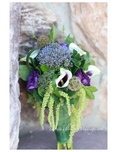 www.twistedwillowweddings.com    Unique Purple Green Bouquet