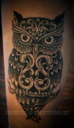 Ornamental Owl Tattoo. Custom tattoo by Scarlet, NYC. Email scarlettattoos@gmail.com #owltattoo #ornamentaltattoo