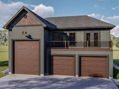 Two-car garage apartment plan with drive-thru RV bay includes a apartment and easily works for boat storage.