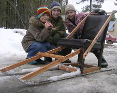 use an old chair and skis to make a kick sled