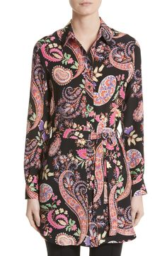 New Etro Floral Paisley Print Silk Tunic DARK LIMOGES fashion online. [$935] new offer from topshoppingonline<<