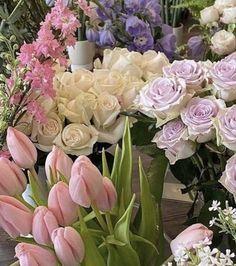 Flowers Nature, My Flower, Fresh Flowers, Beautiful Flowers, Spring Aesthetic, Flower Aesthetic, Bloom Baby, Pink Tulips, Purple Roses