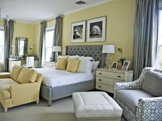 Subtle Sunshine - 15 Cheery Yellow Bedrooms on HGTV. This combination would work well with my yellow venetian plastered walls.