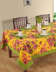 ShalinIndia Colorful Multicolor Cotton Spring Floral 60 x 60 inches Tablecloth 1 Runner & Napkins Table, Table Covers, Table Linens, Table Cloth, Kitchen Crafts, Rectangular Table, Home Decor, Home Decor Tips, Rectangle Table