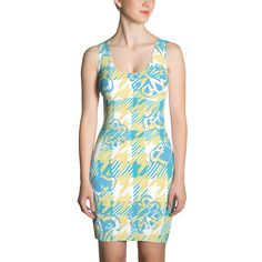 Yellow and Blue Houndstooth Print - Fitted Dress - DogzPrinted