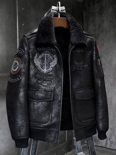 Mens Shearling Jacket, Fur Jacket, Leather Jacket, David Beckham Family, Military Fashion, Mens Fashion, Fur Bomber, Motorcycle Outfit, Men Casual