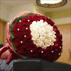 A luxurious bunch of 100-pcs. Red Roses n 30-pcs. White Roses in center . Send these flowers to your beloved, when you want to express your love with a big hug from your side In Gurgaonflorist.com
