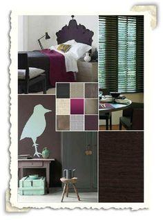 Interieur idee met de kleuren paars en taupe.