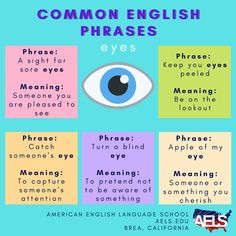 There are many different English expressions that use eyes. Here are a few examples! Eye Meaning, Idioms And Phrases, Sore Eyes, English Phrases, Meant To Be, Ideas, Google Search, Sentences In English, Thoughts