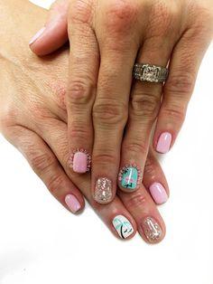 Flamingo nails. Vacation nails. Palm trees #PreciousaPhan