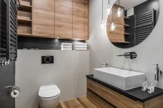 Apartament w Gdańsku Living Etc, Bathroom Inspiration, Bathroom Ideas, Studio, Toilet, Bathtub, Mirror, Interior, Furniture