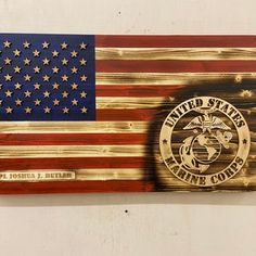 Wooden Flag Marine Corps Flag Military flag Rustic Wood   Etsy Challenge Coin Display, Challenge Coins, Marine Flag, Marine Corps, American Flag Wood, Wooden Flag, Custom Flags, Perfect Gift For Him, Wood Ornaments