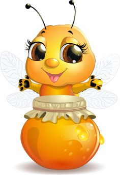 Cute bee with honey Jar vector 01