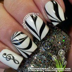 B&W Musical Watermarble nail art  #nails #nailart #nailinspiration
