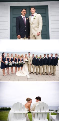 blue and pink bouquets, navy dresses, nautical groomsmen