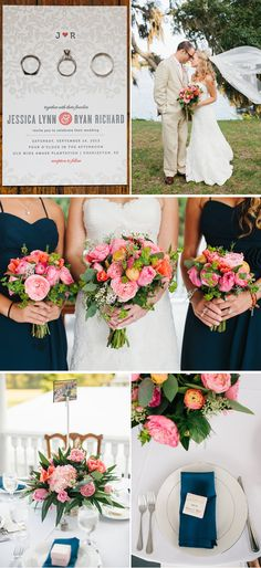 navy blue and pink summer plantation south carolina wedding, real weddings ideas and trends