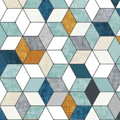 Hexo (blue) fabric by nouveau_bohemian on Spoonflower - custom fabric