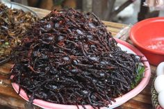 (Fried spiders are apparently a popular snack in Cambodia. Creepy Food, Gross Food, Weird Food, Large Tray, Exotic Food, World Recipes, Food Items, Amazing Cakes, Fries