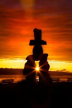 Inukshuk at sunset in Vancouver - a stone landmark or cairn built by the peoples of the Arctic region of North America to show the way or mark a significant spot. Vancouver is my birthplace. Vancouver, Alaska, Quebec, Ontario, Canada Eh, Canada Travel, Countries Of The World, British Columbia, North America