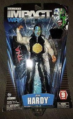 3829b595d6 Jeff Hardy TNA Impact Wrestling Deluxe Action Figure 1 of 100 w Leather  Belt WWE Jeff