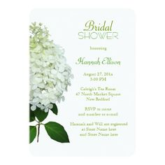 """Limelight Hydrangea Bridal / Wedding Shower Card Pretty light green, floral shower invitation is perfect for a spring or summer bride. A big white, realistic flower borders the left side with custom text, in shades of green, to the right. The hydrangea variety is called """"limelight"""" with white petals that become pale green at the top."""