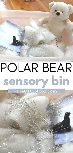 This polar bear sensory bin is a fun occupational therapy intervention to use in building fine motor skills, eye-hand coordination, tactile sensory exploration, motor planning, and imagination play. So many therapy goals can be addressed with sensory bins! Add this arctic animal sensory play idea to a polar bear theme this winter.