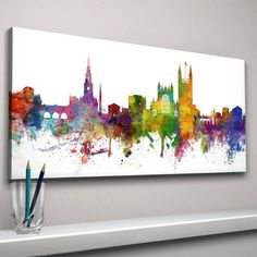 Bath Skyline Cityscape Art Print by artPause, the perfect gift for Explore more unique gifts in our curated marketplace. Cityscape Art, Skyline Art, Canvas Art Prints, Fine Art Prints, Plain White Background, Color Depth, Pause, Abstract Watercolor, Fine Art Paper