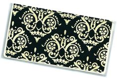Checkbook Cover  Black and Cream Scrollwork by rabbitholeonline (Accessories, Case, Checkbook, the rabbit hole, checkbook cover, fleur de lis, check book cover, checkbook wallet, duplicate checkbook, vinyl checkbook, checkbook holder, cheque book cover, black checkbook, damask, black cream, scrollwork)