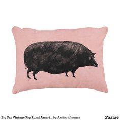 Big Fat Vintage Pig Rural American Farm Pink