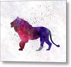 Lion 01 In Watercolor Metal Print by Pablo Romero