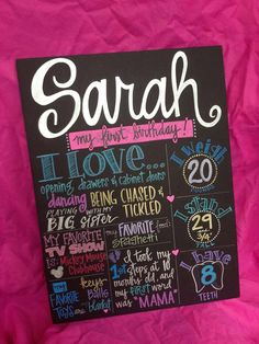 Custom Hand-Painted 15x20 Birthday Poster party photo shoot prop senior graduation engagement wedding shower via Etsy