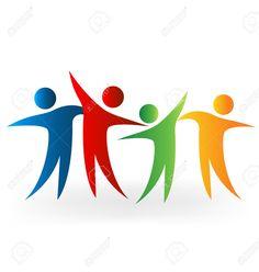 Happy People Sharing Time Vector Image Royalty Free Cliparts, Vectors, And Stock… Minimal Logo Design, Graphic Design, Teamwork Logo, Travel Agency Logo, Family Logo, Diagram Design, Friend Logo, People Logo, Book Logo