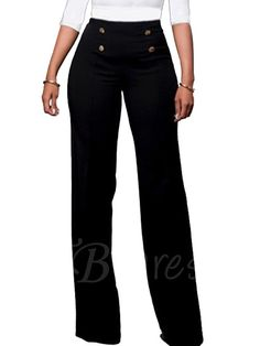 Tbdress.com offers high quality High-Waist Button Full Length Wide Legs Women's Pants Women Pants unit price of $ 16.99.