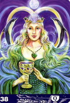 Queen of cups from Aura-Soma Tarot