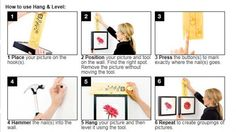 How to Hang & Level framed pictures on wall.  This nifty Hang & Level Tool cost $15.  Ribba picture frames from Ikea is a good way to save money.  Or, you can DIY.  All you need is 1.) wooden paint stirrer; 2.) and random wood screw with a large head screwed into the wooden paint stirrer, so it barely goes throughout the other side.  Step #1 Hang the farm on the screw.  Step #2 Hold the frame against the wall in the exact spot where you want to hang it, then ...