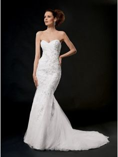 Mermaid Strapless Sweetheart Cathedral Train Tulle and Lace Bridal Gown