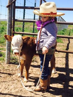 How sweet is this little girl and her calf. Western Baby Clothes, Western Babies, Country Babies, Animals For Kids, Cute Baby Animals, Wild Animals, Fluffy Cows, Baby Cows, Baby Elephants