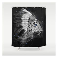 Don't Define The World (chief Of Dreams: Amur Leop… Shower Curtain (95 NZD) ❤ liked on Polyvore featuring home, bed & bath, bath, shower curtains, black and white shower curtains and anchor shower curtains