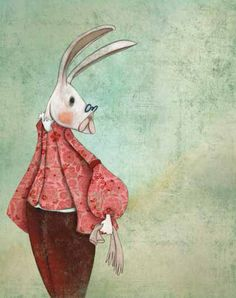 Alice In Wonderland 1, Bunnies, Illustration Art, France, Brown, Painting, Animals, Animales, Animaux
