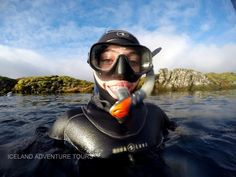 Float between the two continental plates in Iceland. Diving Suit, Scuba Diving, Iceland Adventures, Snorkel Mask, Scuba Girl, Womens Wetsuit, Snorkelling, Adventure Tours, Sport Girl