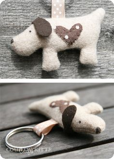 Sweet dog keychain ~ handmade by country kitty. Dog Crafts, Animal Crafts, Kids Crafts, Fabric Crafts, Sewing Crafts, Sewing Projects, Tape Crafts, Softies, Dog Keychain