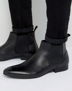 Dune Mister Chelsea Boots In Black Leather - Black