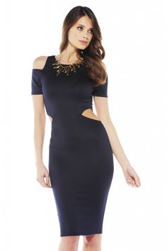 Off The Shoulder Cut Out Midi Dress $42