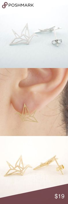 Origami Crane Earrings Gold or silver, about 1 cm in height and width, mix and match them for a delicate look! Jewelry Earrings