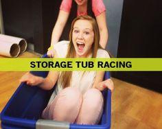 Storage Tub Racing - Fun Ninja Youth Group Games | Fun Ninja Youth Group Games.  We need to join this site, SO many ideas!