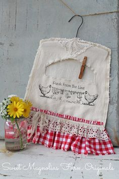 """Clothespin Bag - Farm Style - """"Fresh From the Line"""" Lace, Eyelet, Red Check Gingham Shabby Country, Farmhouse Chic Sewing Crafts, Sewing Projects, Projects To Try, Diy Crafts, Sweet Magnolia, Magnolia Farms, Vintage Laundry, Vintage Sewing, Clothespin Bag"""