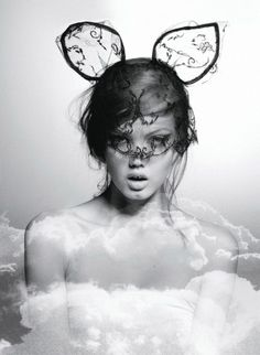 Photo of Lindsey Wixson in Maison Michel by Karl Lagerfeld for Flair
