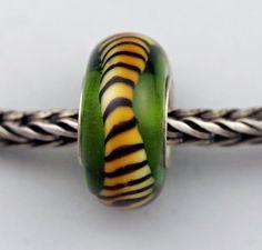 Grass Green Tiger Tail  European Charm / Bracelet by PerrasBeads